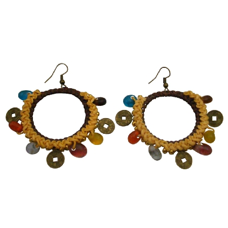 Chic Bohemian Multicolored Beads Coin Charm Yellow Crochet Earrings