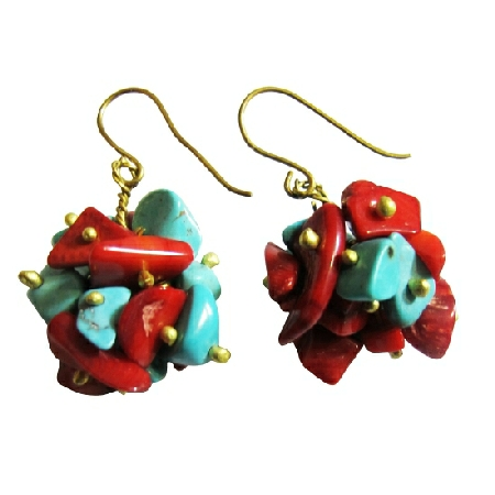 Turquoise Coral Nugget Brass Beads Brass Hook Dangling Classy Earrings