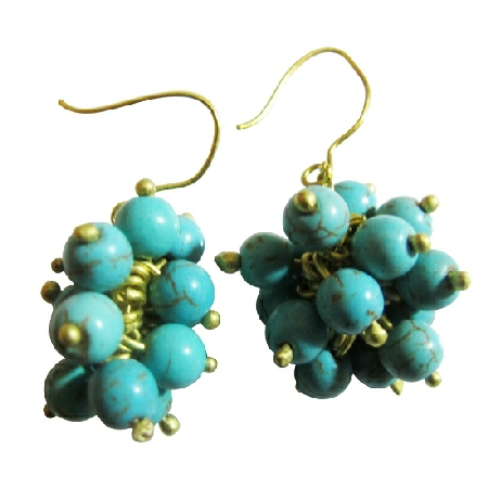 Cluster Turquoise Blue Dangling Earrings w/ Effervescence Earrings