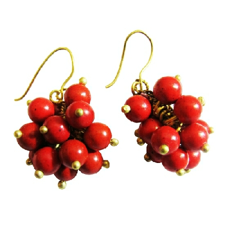 Coral Dangling Effervescence Cluster Coral Earrings Gold Oxidized Hook