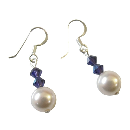 Bridesmaid Gifts White Purple Velvet Swarovski Pearl Crystals Earrings