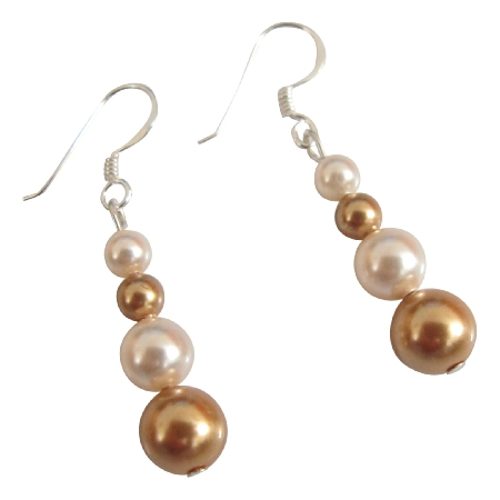 swarovski pearls ivory bridesmaid earrings customize gold gift