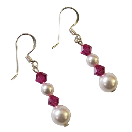 Customize Bridesmaid Gift Swarovski White Pearls Ruby Crystal Earrings