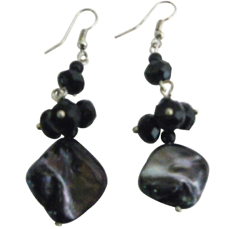 Shell Black Beads Cluster Earrings Nickel Free Fun Wearing