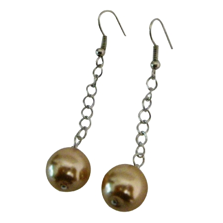 Single Pearls Champagne Color Dangling Earrings