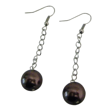 Bridesmaid Jewelry Chocolate Brown Single Pearls Dangling Earrings