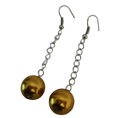 Vintage Bridesmaid Earrings Golden Pearls Dangling Earrings