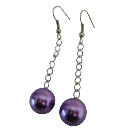 Decent Singel Purple Pearls Earrings Wedding Jewelry