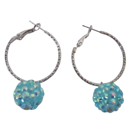 Chinese Pave Ball Hoop Earrings Cherish Fun Wearing