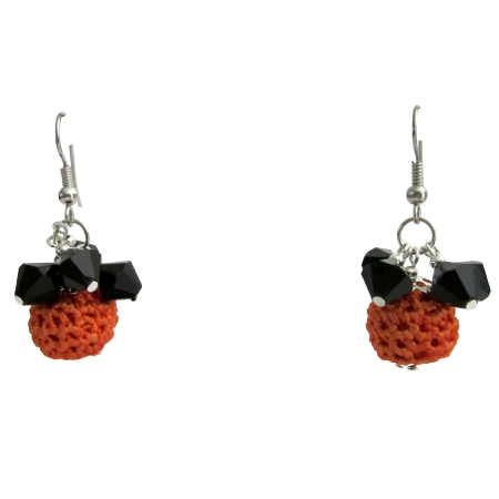 Halloween Jewelry Orange Crochet Bead w/ Black Glass Bead Earrings