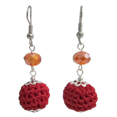 Christmas Party Earrings in Crocheted Red Bead w/ Orange Crystal Beads