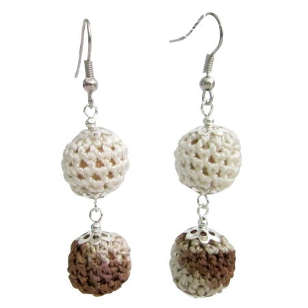 Crochet Earring Collective Design Combo Brown & Ivory Crochet Beads