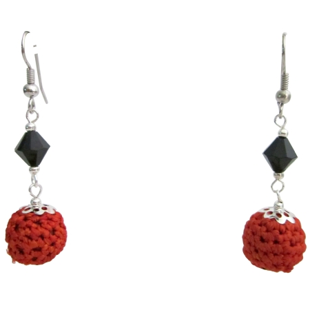 Trendy Fashionable Chic Orange Crochet Black Glass Beads Earrings
