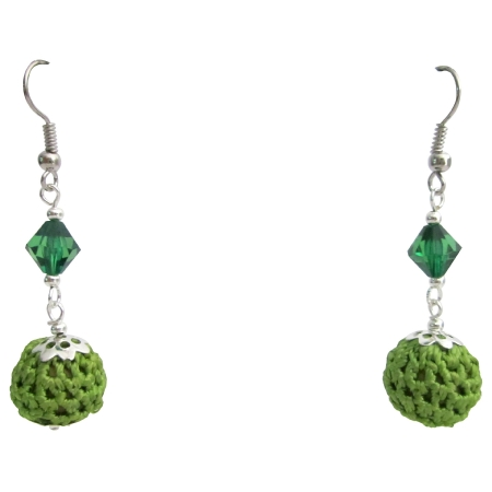 Looking For Affordable Inexpensive Crochet Earrings Emerald Glass Bead