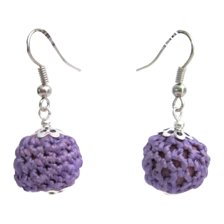 Inexpensive Cute Crochet Earrings Purple Crochet Bead Earrings Jewelry