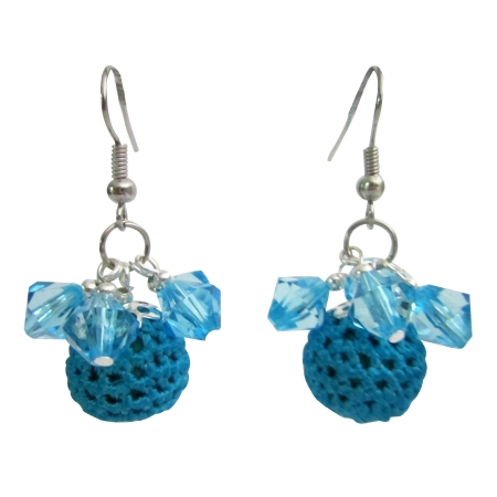 Party Christmas Jewelry X-mas Girl Friend Gifts Blue Crochet Earrings
