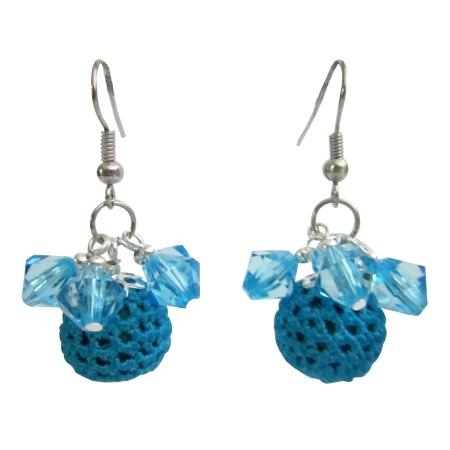 Party Christmas Jewelry X-mas Girl Friend Gifts Blue Crochet Earrings