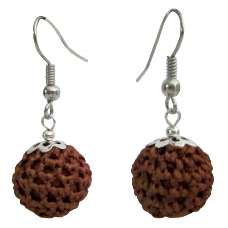 Brown Chocolate Color Crochet Round Earrings Inexpensive Jewelry Gift