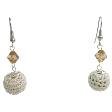 Attractive Gift Beige Ivory Unique Crochet Earrings w/ Unbeaten Price