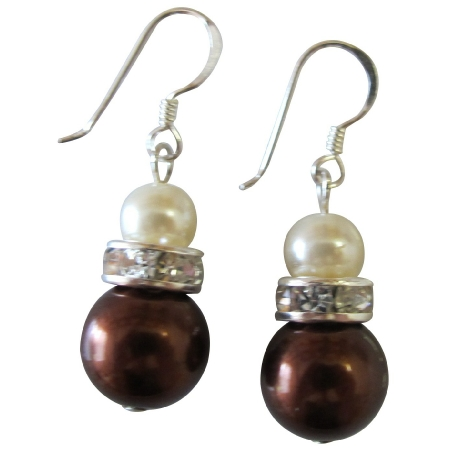 Wedding Accessories Jewelry Dark Brown ivory Diamante Earrings