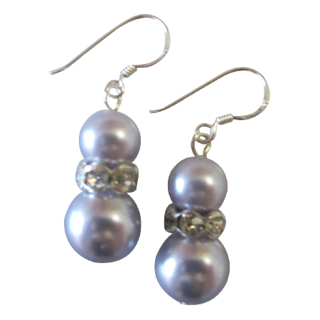 Sparkling Like Diamond Silver Rondells Lavender Pearls Earrings