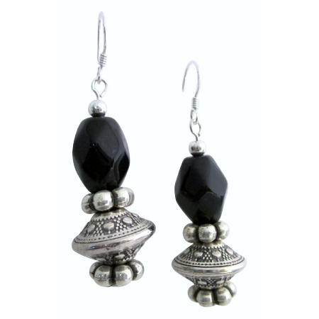 Affordable Elegance Onyx Barrel Beads Earring