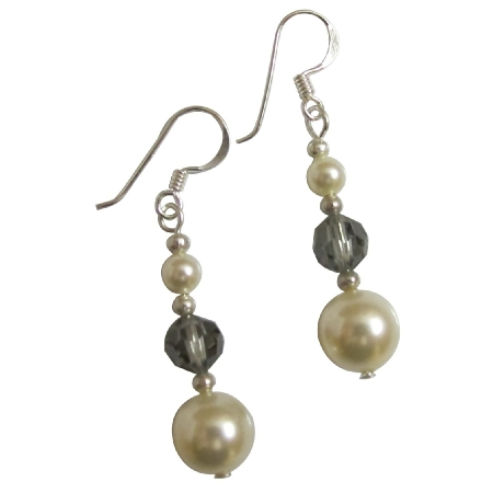 Sterling Silver Ivory Pearls Black Diamond Crystals Earrings