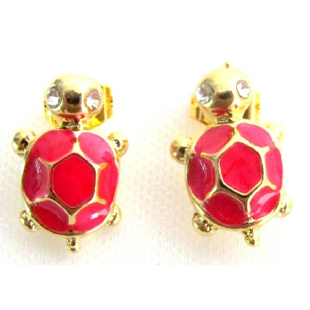 Adorable Golden Orange Resin Turtle Earrings