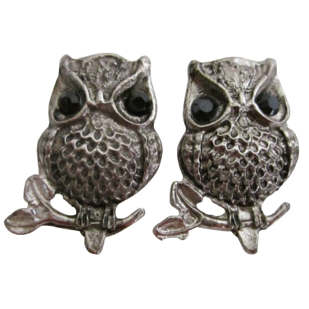 Cute Owl Earrings Engraved Silver Oxidized Silver Owl Earrings