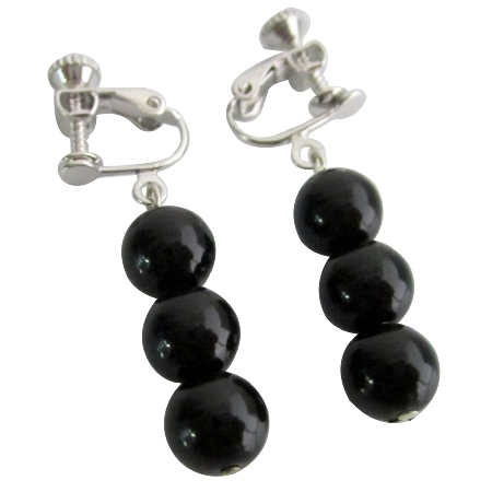Girls Clip On Earrings Black Pearls Flower Girl Earrings