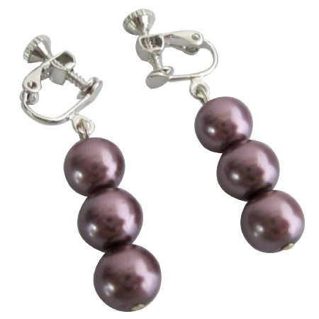 Elegant Purple Bridesmaid Pearls Clip On Earrings