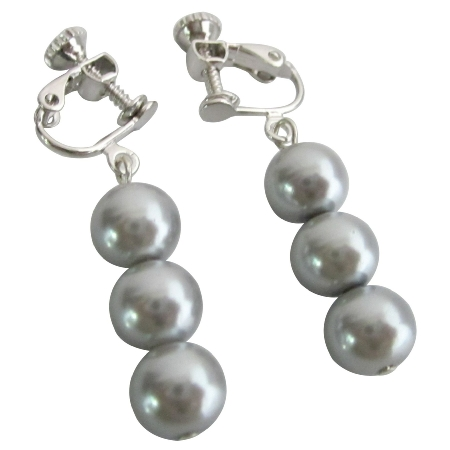 Cheap Stylish Jewelry Clip On Earrings Silver Gray Pearls