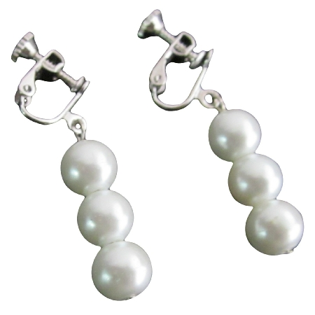 White Pearls Jewelry For Flower Girl Clip On Earrings