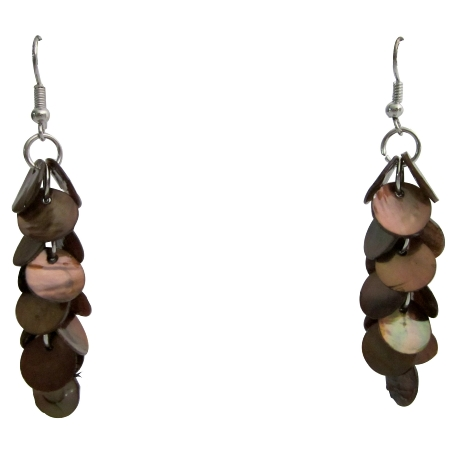 Shell Cluster Earrings Brown Shell Cluster Earrings Boho Earrings