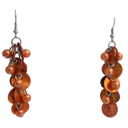 Orange Shell Cluster Earrings Orange Pearls Shell Boho Earrings