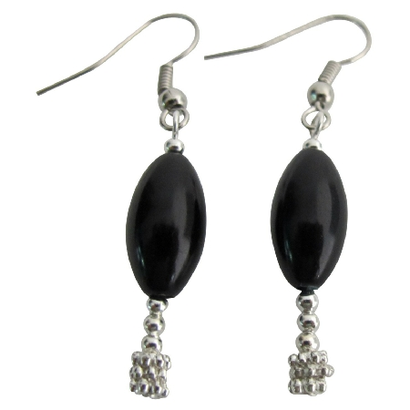 Wedding Gift Holiday Gift Black Oval Barrel Pearl Earrings