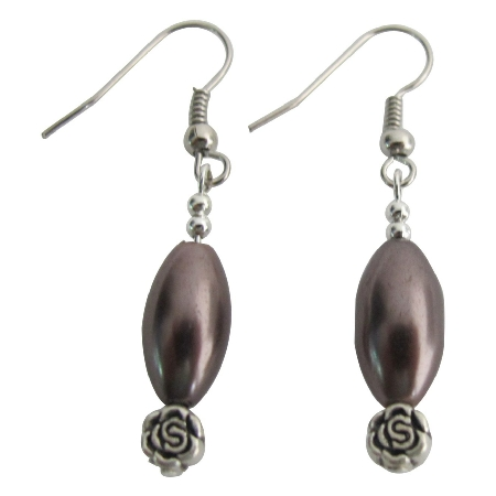 Mocha Pearl Wedding Gift Bridesmaid Earrings Nickel Free Earrings