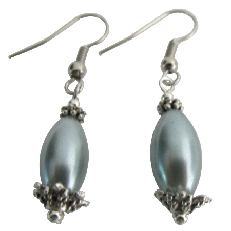 Formal Parties Pageants Silver Pearl Wedding Gift Oval Barrel Earrings