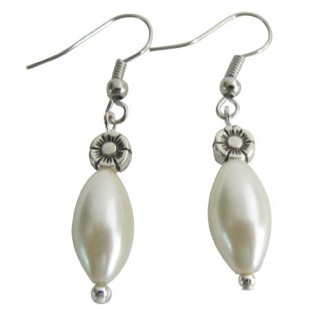 FashionJewelryForEveryone.com UER673 Casual Earrings Formal Ensemble Ivory Pearl Wedding Gift Ivory Barrel Earrings