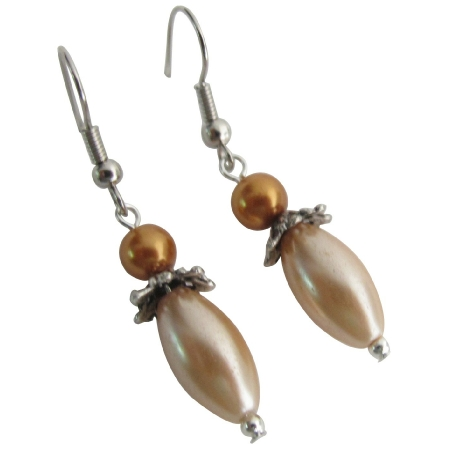 Bohemian Earrings Oval Shaped Pearl Dangle Peach Gold Earrings