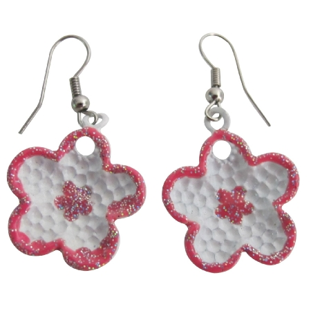 White Enamel Flower Earrings Fashionable Earrings