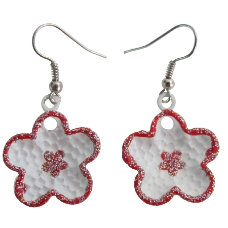 Flower Girls Earrings Gift Beautiful Flower Red Earrings