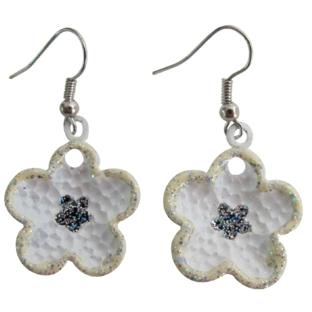 Girls School Dance Earrings In Beautiful White Enamel Flower Earrings
