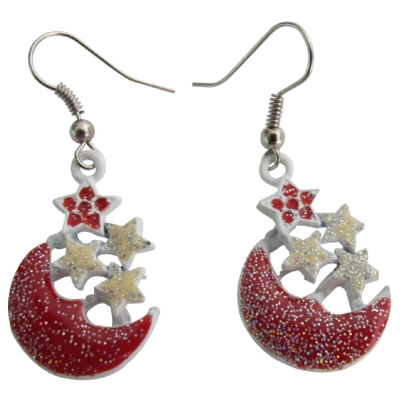 Glittering Red Half Moon Earrings with Stars Stunning Cute Earrings