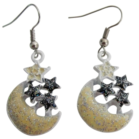 Girls Return Gift Very Stunning Earrings with Yellow Moon Stars