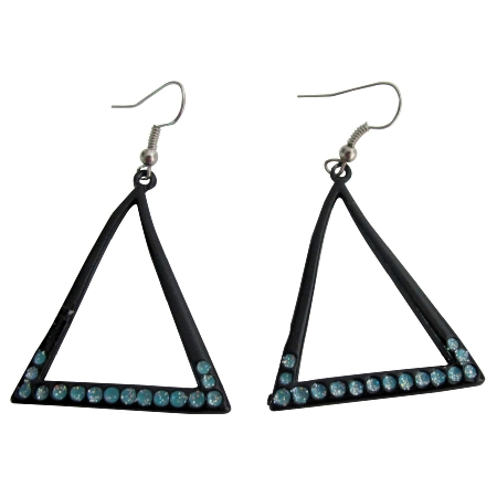 Triangular Earrings Summer Jewelry with Blue Sparkling Cubic Zircon
