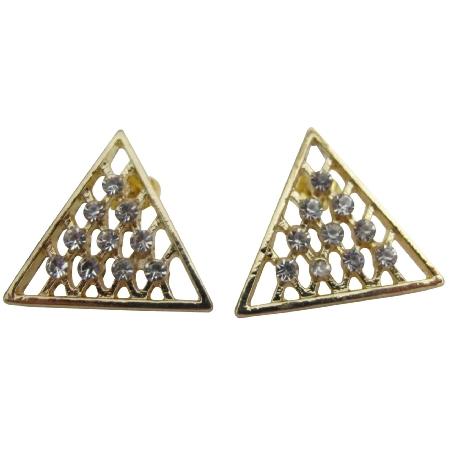Triangle Stud Earrings CZ Studs Gold Triangle Earrings