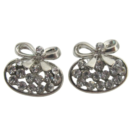 Silver Bow Earrings Tiny Small Cubic Zirconia Studs Holiday Gift