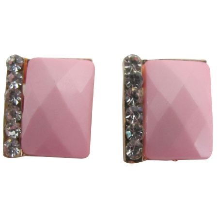 Blush Pink Rectangular Stud Earrings with Rhinestones Great Gift