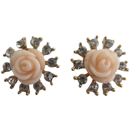 Korean Style OL Flower Shiny Crystal Rhinestone Pearl Stud Earrings